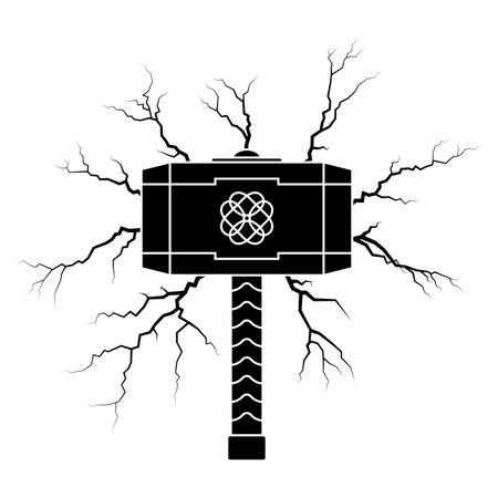 Viking hammer icon with lightning bolts vector illustration