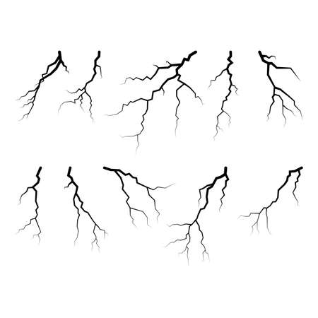 Black lightning collection isolated on white background vector illustration