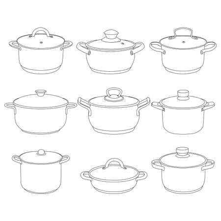 Pans pots collection vector illustration. Kitchen pan objects.