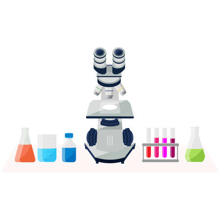 Microscope and different lab flasks