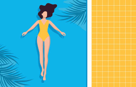 Women chilling on the pool float in the swimming pool, enjoy summer and relax. Vector illustration