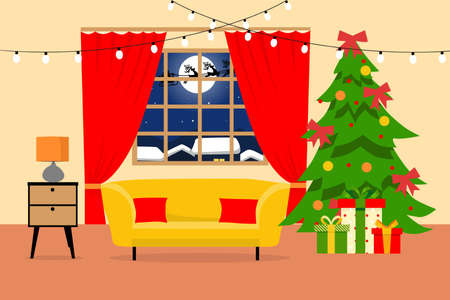 Cartoon illustration of a home Christmas room. Background of a cozy interior, gifts under a decorated Christmas tree. Vector illustration.
