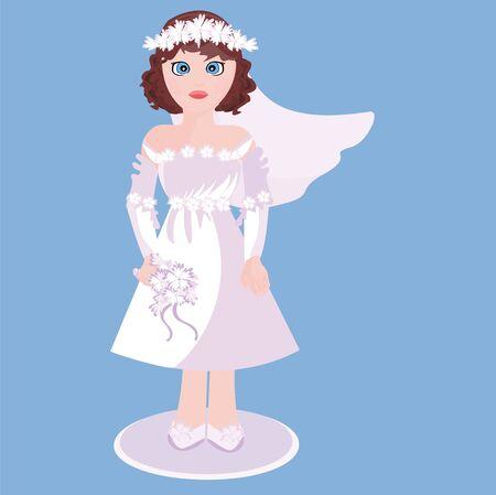Cute bride in a beautiful dress Vector