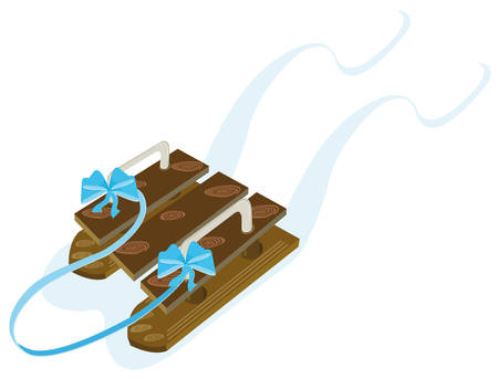 iron fun: Winter sled made of wood Illustration