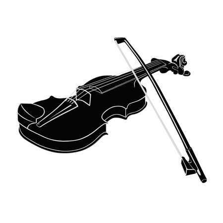 fiddlestick: Black - White Musical instrument violin with fiddlestick on a white background. Vector illustration. Isolated object. Illustration