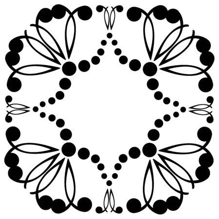 Decorative frame. Geometric pattern in black color Illustration
