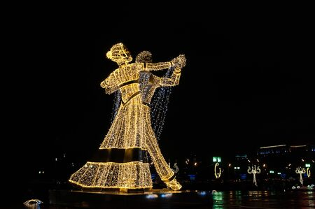Giant figures of dancers erected for the Festival Trip to Christmas 2017-2018, Moscow, Russia
