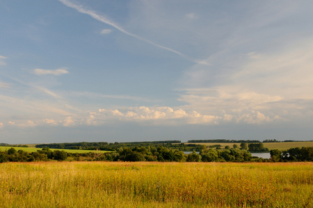 View at the Shatov water storage over the fields, Tula region Banco de Imagens