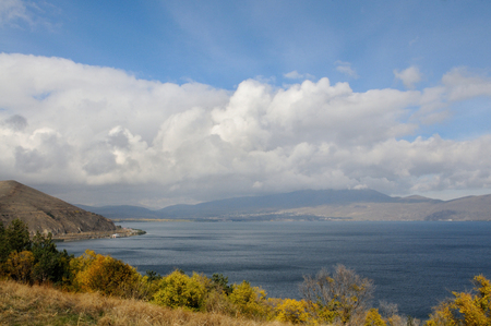 Windy autumn day on Sevan lake, Armenia