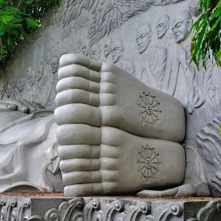 Heels of the statue of the lying Buddha at the Long Son complex, Nha Trang, Vietnam
