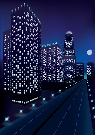 Neon lights along the highway near dark skyscrapes on blue background and moon on the horizon. Perspective view. Night city.