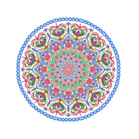 Flower Mandalas. Vintage decorative elements. Oriental pattern illustration. Islam, Arabic, Indian, Turkish, Pakistan, Chinese, ottoman motifs. Very detailed and colorful.