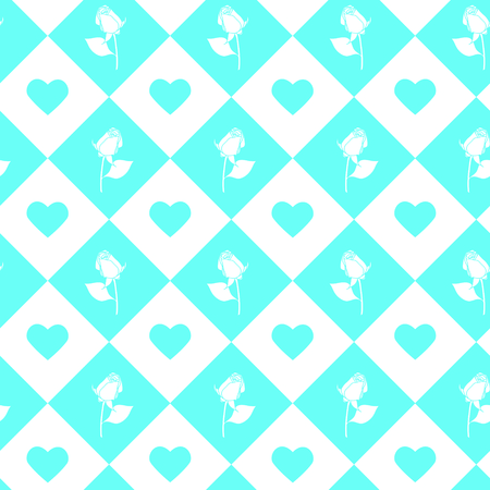 Roses and hearts seamless background - pattern for continuous replicate in light blue color.
