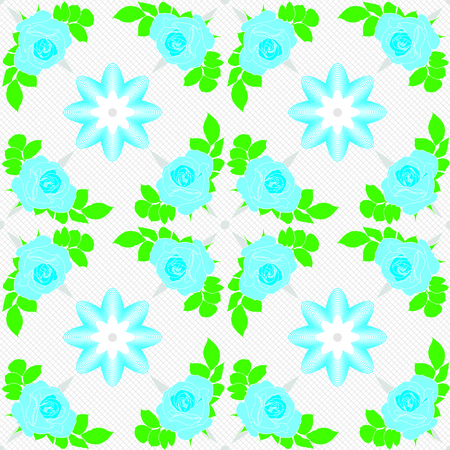 Vector seamless pattern. Blue roses on white background with geometric decoration. Illustration