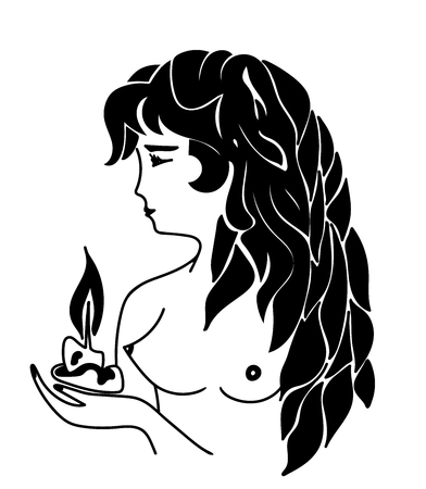 Vector illustration of Beautiful topless brunette girl with long black wavy hair handling candle in her arms. Portrait isolated on a white background. Monochromatic. Black and white.