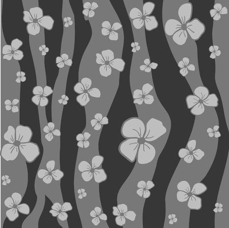 Modèle de couleurs d'échelle de gris sans soudure de vecteur - fleurs simples sur fond abstrait. Conception florale moderne. Style monochrome minimalisme