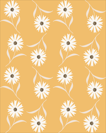 Vector seamless abstract pattern with white cornflowers on beige background