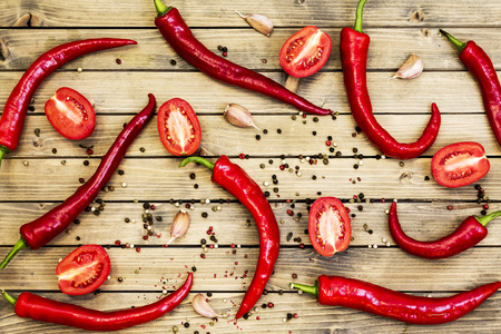 Red chili peper on wooden background Close up Stockfoto