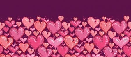 Valentine s Day Hearts Horizontal Seamless Pattern Border Stock Vector - 16356453