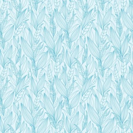 Blue Line Art Leaves Seamless Pattern Background Stock Vector - 16356457