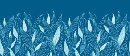 Blue Bamboo Leaves Horizontal Seamless Pattern Border Stock Vector - 16356500