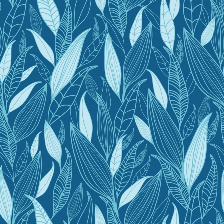 Blue Bamboo Leaves Seamless Pattern Background Illustration