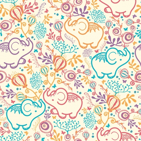 colrful: Elephants With Flowers Seamless Pattern Background