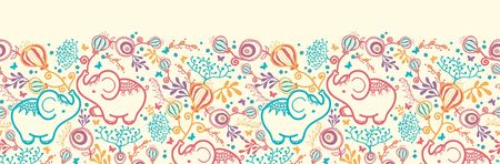 horizontal: Elephants With Flowers Horizontal Seamless Pattern Border