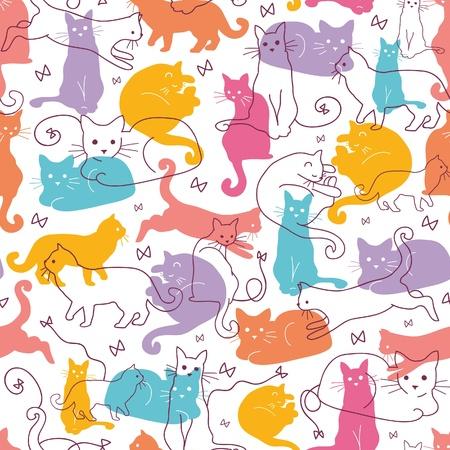 silueta gato: Gatos de colores de fondo Seamless Pattern
