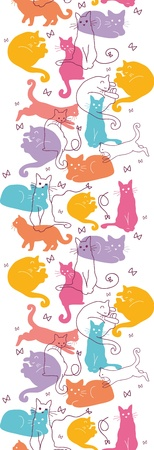 Colorful Cats Vertical Seamless Pattern Border