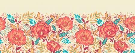 horizontal: Bright Garden Flowers Horizontal Seamless Pattern Border