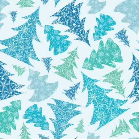 Snowflake Textured Christmas Trees seamless Pattern Background Vector