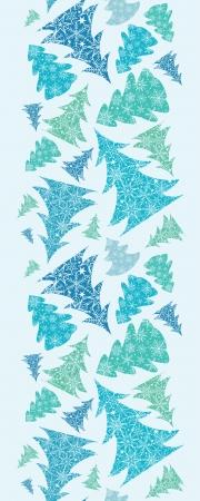 Snowflake Textured Christmas Trees Vertical Seamless Border