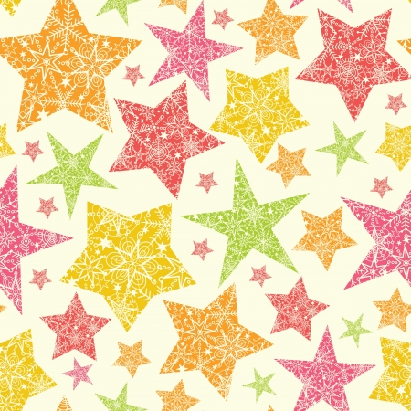 Snowflake Textured Christmas Stars Seamless Pattern Background Vector