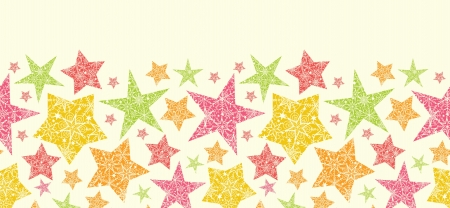 Snowflake Textured Christmas Stars Horizontal Seamless Pattern  Vector