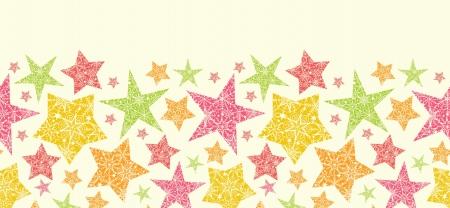 Snowflake Textured Christmas Stars Horizontal Seamless Pattern Stock Vector - 16446313