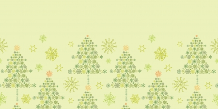 Snowflake Christmas Trees Horizontal Seamless Pattern Border Vector