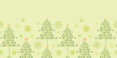 Snowflake Christmas Trees Horizontal Seamless Pattern Border Stock Vector - 16446319