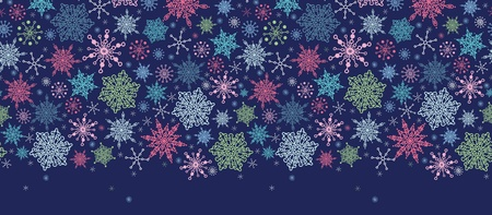 Snowflakes On Night Sky Horizontal Seamless Pattern Border Vector