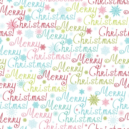 Merry Christmas Text Seamless Pattern Background Vector
