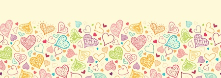 Doodle Hearts Horizontal Seamless Pattern Background Border Stock Vector - 16446316