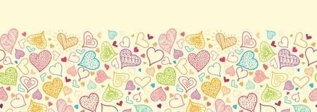 horizontal: Doodle Hearts Horizontal Seamless Pattern Background Border Illustration