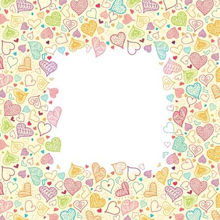 Doodle Hearts Vertical Frame Background Border Illustration