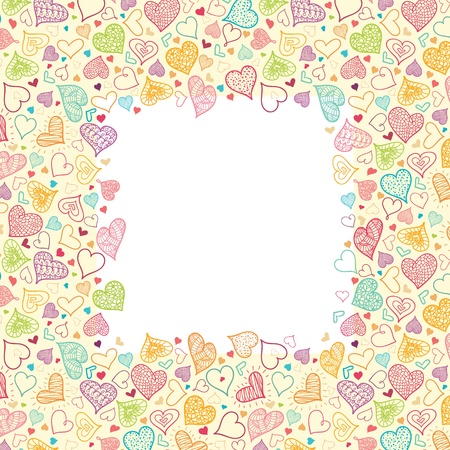 Doodle Hearts Vertical Frame Background Border Vector