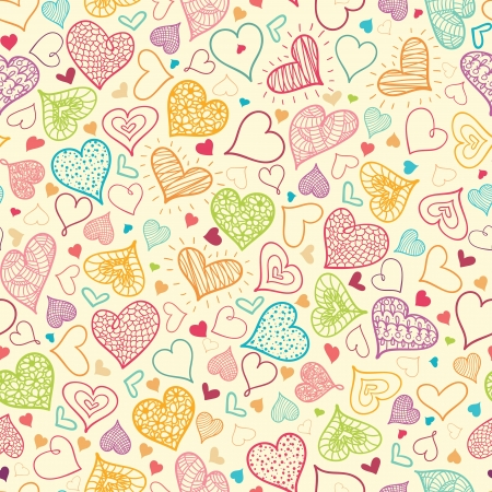 Doodle Hearts Seamless Pattern Background Stock Vector - 16446303