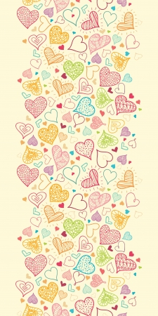 Doodle Hearts Vertical Seamless Pattern Background Border Stock Vector - 16446299
