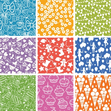 children party: Nine Celebration Seamless Patterns Backgrounds Collection