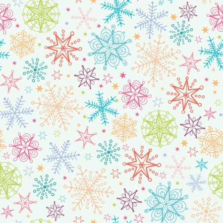 Colorful Doodle Snowflakes Seamless Pattern Background Vettoriali
