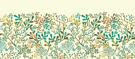 seetang: Textured Pflanzen Horizontale Nahtlose Muster Hintergrund Ornament