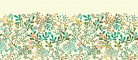 Textured Planten Horizontale naadloze patroon achtergrond Ornament
